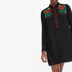 Zara Floral Embroidery Shirt Dress